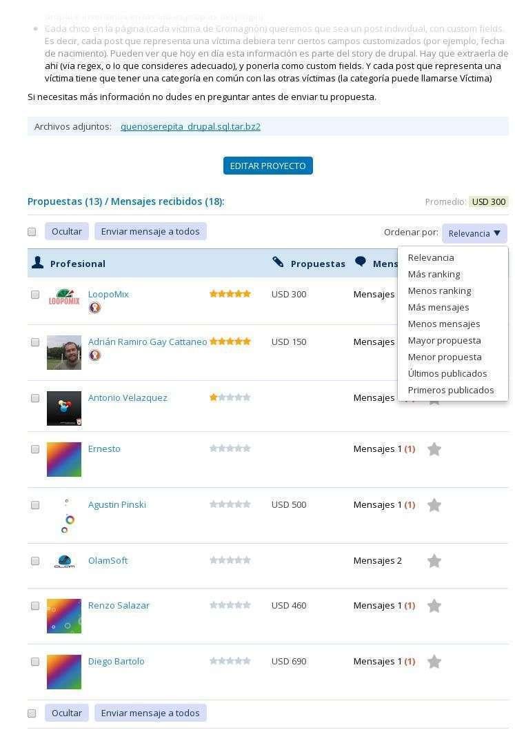 Nuevo diseño de visualización de propuestas en Workana