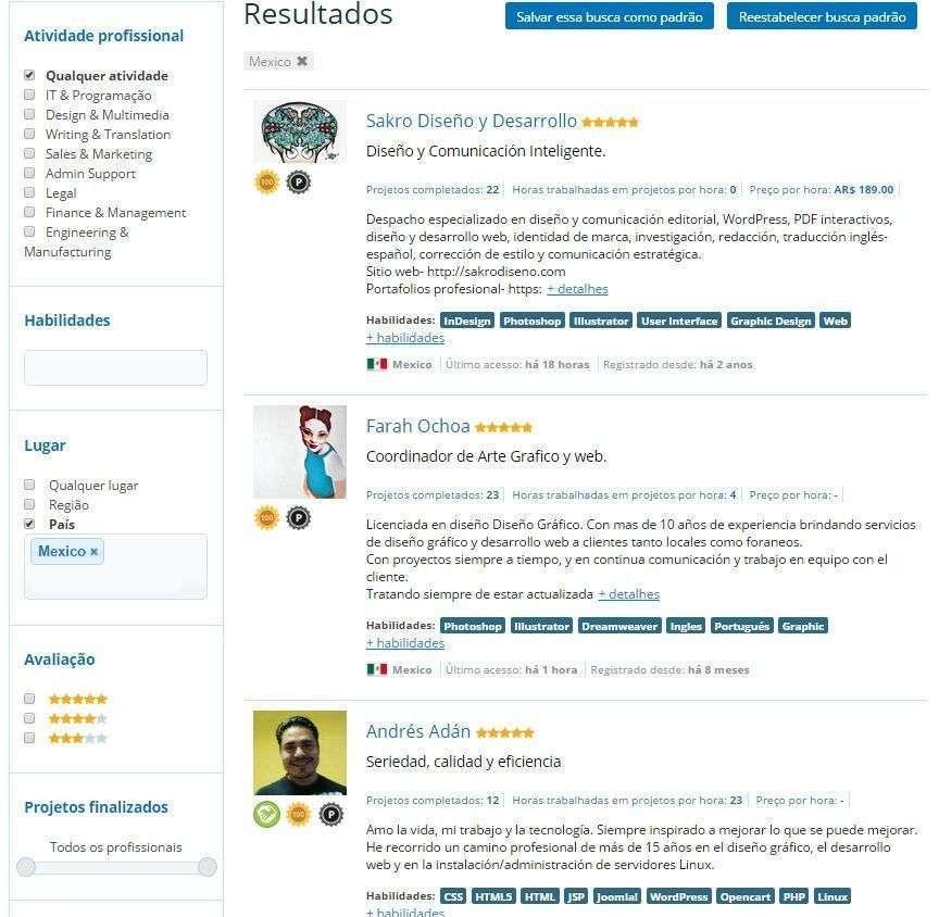 Exemplo de filtros (Perfil Cliente)