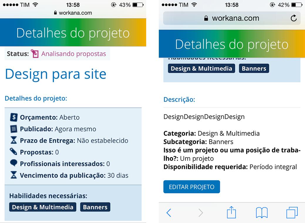 detalhes projeto - workana mobile