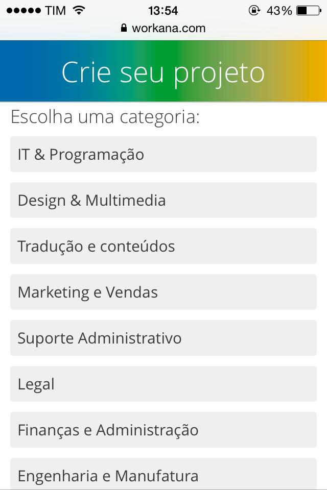 Criar projeto em página mobile na Workana