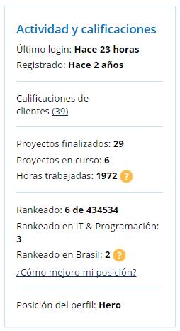 Ejemplo de ranking en el perfil
