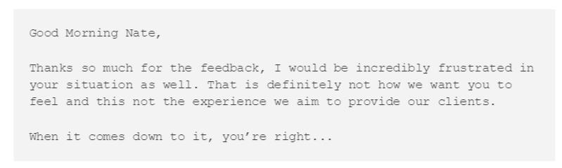 Suporte ao cliente - resposta