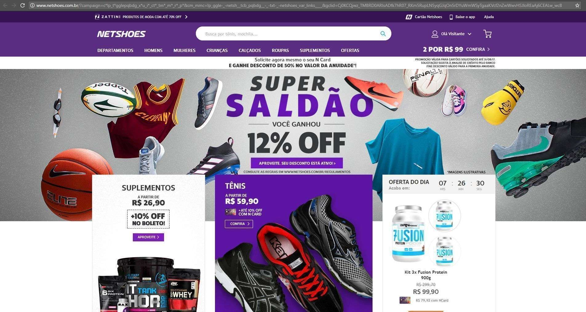 homepage do e-commerce da Netshoes