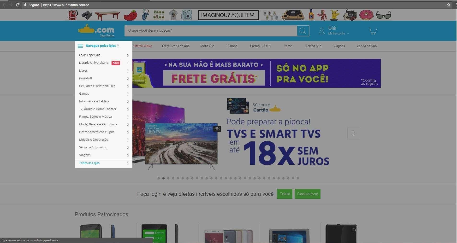 Homepage e-commerce Submarino