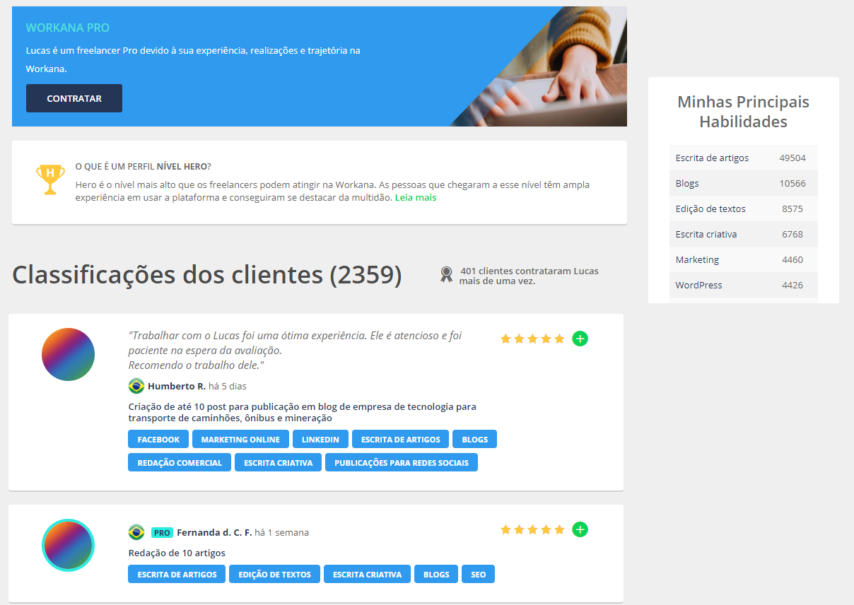 Perfil Freelancer Workana