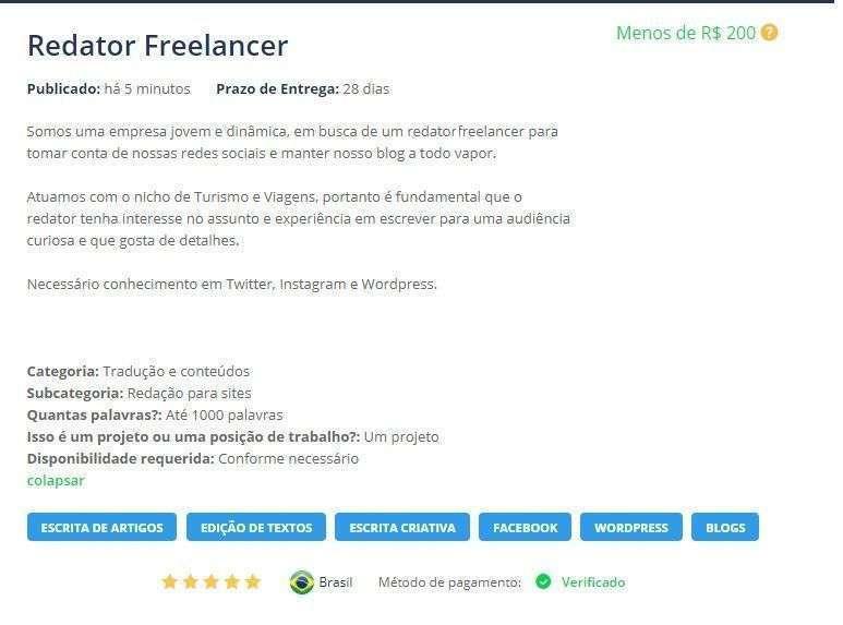 Projeto Redator Freelancer Workana