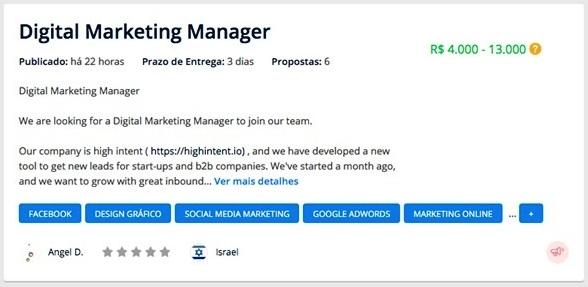projeto na Workana em busca de community manager