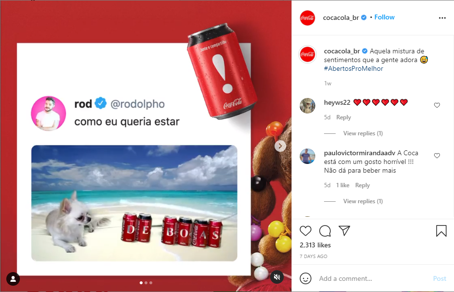 Post da Coca Cola Brasil no Instagram - publicidades latas com letras decorativas