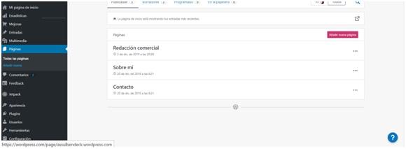 Creando páginas internas de un sitio web en WordPress