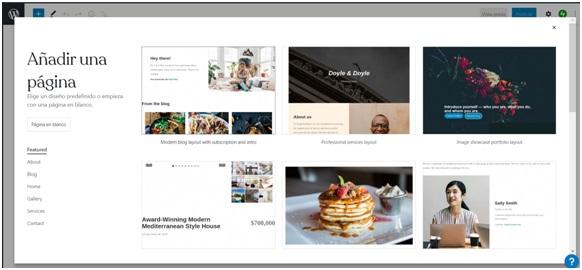 Configurando páginas internas de un sitio web en WP
