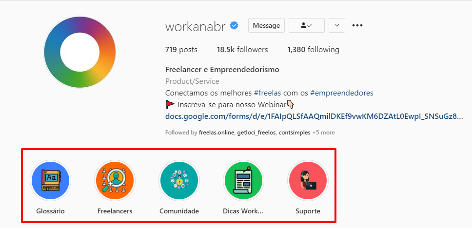 Stories salvos da Workana BR no Instagram