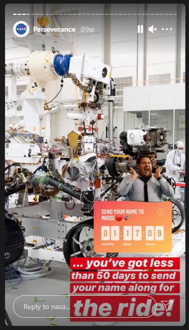 Story da NASA em inglês no Instagram