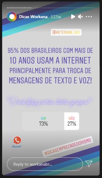 Story da Workana Brasil no Instagram com pergunta aos usuários