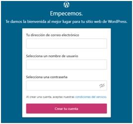 Registro para crear un sitio en WordPress