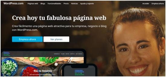 crear una página web en WordPress- Home