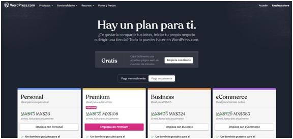 opciones de planes para crear una página web con WordPress