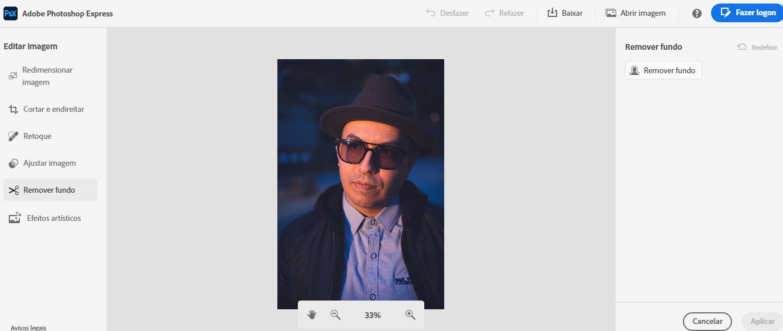 remover fundo de imagens no Photoshop Express