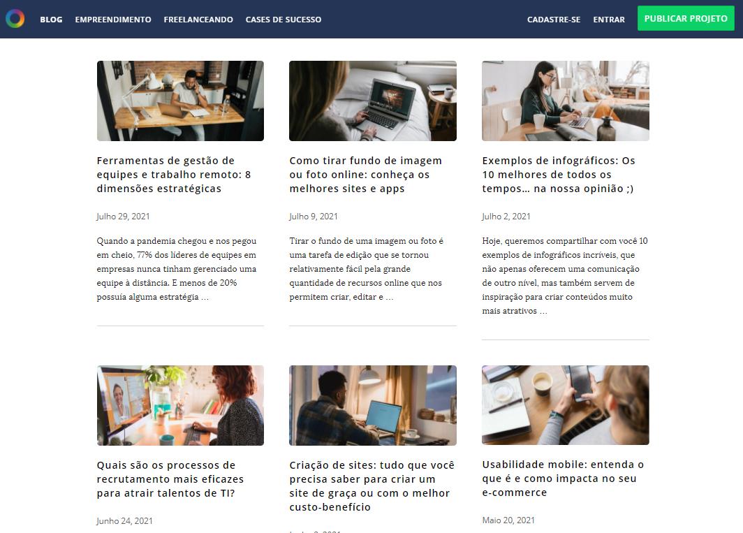 tipos de conteúdo web - exemplo de artigos para blog